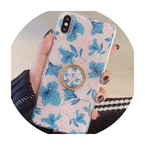 - Blue Flower and Leaf for iPhone X XS 8 7 6s Drops of Glue Gold foil Phone Shell for xs max 8p 7plus Soft TPU case with stents,Style B,for iPhone 6