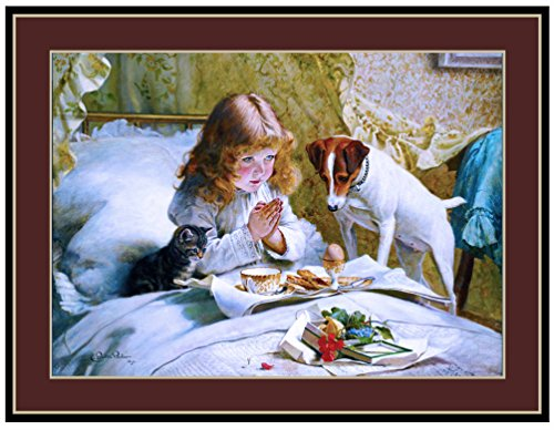 (A SLICE IN TIME Jack Russell Terrier Puppy Dog Puppies Dogs Little Kitten Cat and Little Girl Praying Vintage Art Picture Poster Print. Measures 10 x 13 inches.)