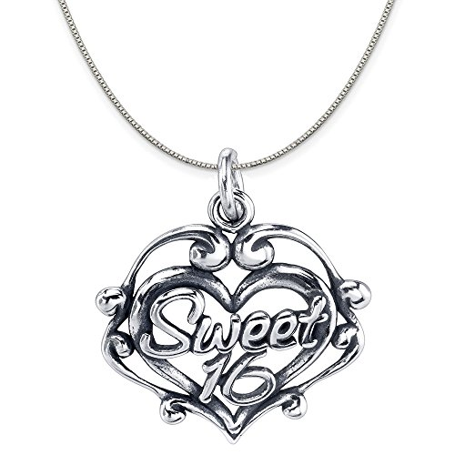 Sterling Silver Sweet 16 Filigree Heart Charm Pendant on Sterling Silver Box Chain Necklace, 18