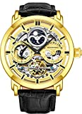 Stuhrling Original Mens Automatic-Self-Wind Luxury Dress Skeleton Dual Time Gold-Tone Wrist-Watch 22 Jewels 47 mm Stainless Steel Case Decorative Exposed Back Embossed Supple Genuine Leather Strap