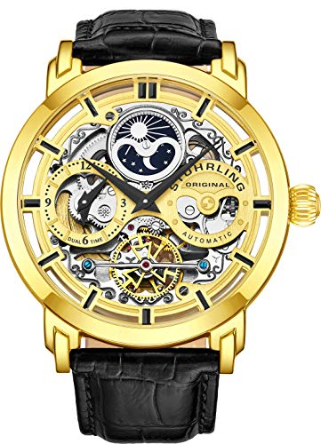 (Stuhrling Original Mens Automatic-Self-Wind Luxury Dress Skeleton Dual Time Gold-Tone Wrist-Watch 22 Jewels 47 mm Stainless Steel Case Decorative Exposed Back Embossed Supple Genuine Leather Strap)