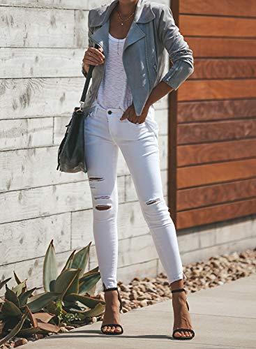Blibea Women's Zipped Notch Collar Moto Biker Jacket Casual Short Coat Outwear