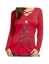 scaling Women T Shirt V Neck Christmas Printed Long Sleeve Tops Crop Shirts