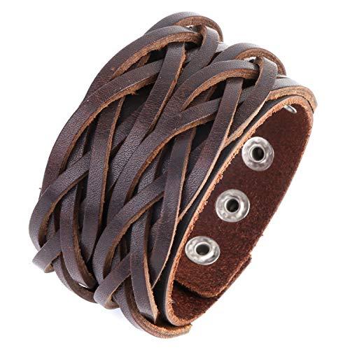 OMAI Adjustable Leather Bracelet Wide Brown Belt Cuff Genuine Men and Women