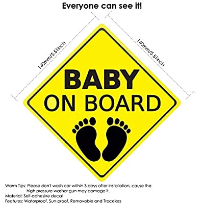 Baby ON Board Sticker Car Decals Safety Signs Self-Adhesive Easy to Install Waterproof 2pcs