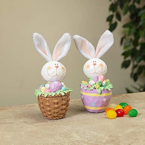 Flowers Basket Easter - Gerson Spring Easter Bunny in Basket Figurines - Set of 2