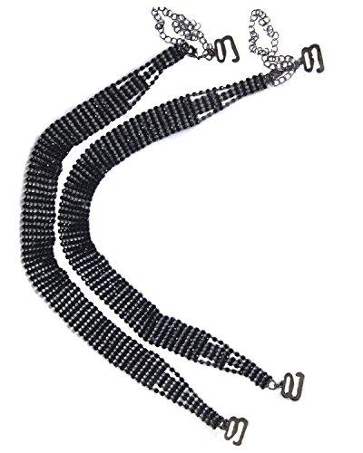 (Divas Bra Straps Womens 8 Row Black Rhinestone Replacement Removable Crystal Bra Straps)