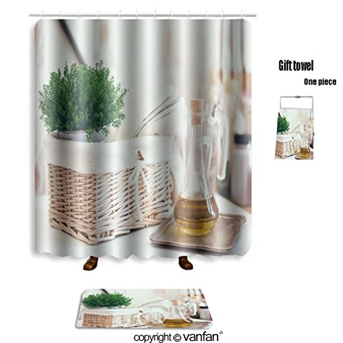 vanfan bath sets with Polyester rugs and shower curtain real kitchen arrangement vintage wicker baske shower curtains sets bathroom 48 x 72 inches&23.6 x 15.7 (Free 1 towel and 12 hooks)