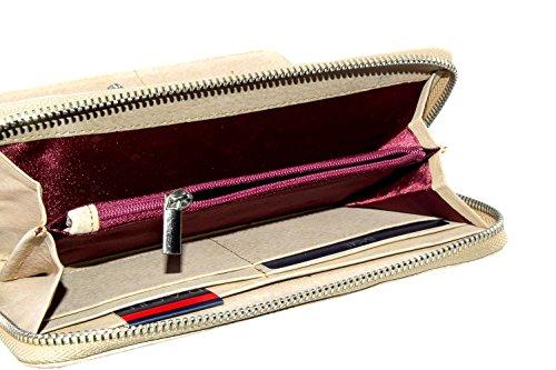 Cartera mujer BASILE beige modelo compacto con zip A4171