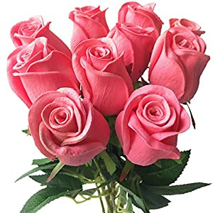 Artificial Flowers 11P Real Touch Rose Flower Pink/Blue/Black/Red/Yellow/Purple Pu Roses Artificial Rose 43Cm for Wedding Party Decorative Flowers,60Cm Rose Red 5