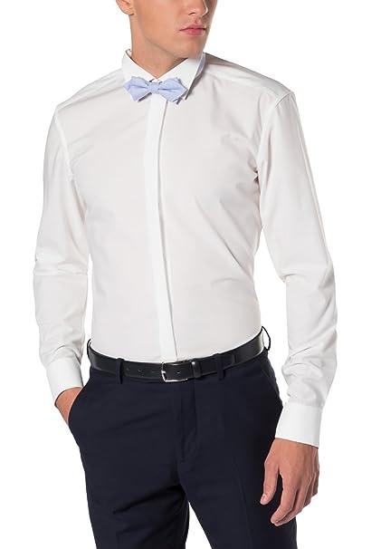 Herren Smoking Hemd Tailored Fit Bügelfreies, schmal tailliertes Hemd mit Kläppchen Kragen und Umschlagmanschette Langarm 100% Baumwolle
