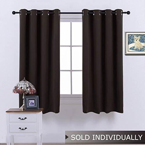 NICETOWN Blackout Window Drape and Curtain - (Toffee Brown Color) Window Treatment Panel for Home Theater, Noise Rducing Drape/Drapery, 52 Inch Wide by 63 Inch Long, One Piece Black Toffee