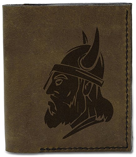 Head Wallet New d 1 Handmade MHLT 04 Viking Natural Viking Heads Leather Men's Genuine PwARqRg