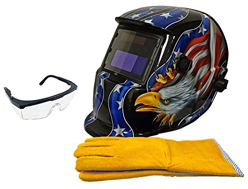 "Instapark ADF Series GX-500S-KIT Solar Powered Auto Darkening Welding Helmet Black with 14"" Split Leather Welding Gloves & Safety Goggles with Black Frame and Clear Lens (USA) by Instapark"