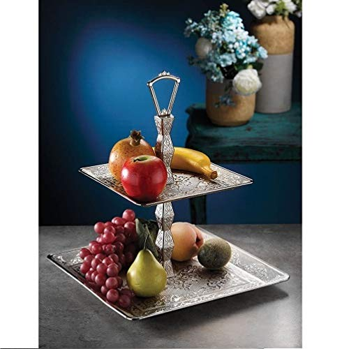 (Two Tier Square Silver Plated Fruit - Cookie Serving Tray)