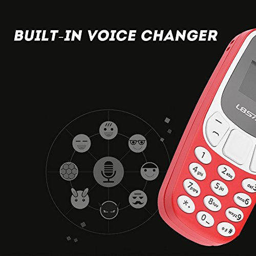 Mini Unlocked Bluetooth Cellphone with Data Cable, Small GSM Dual SIM/Memory Card Mobile Phone, Long Time Standby, Built-in Voice Changer - MP3 / MP4 Music Player(red)