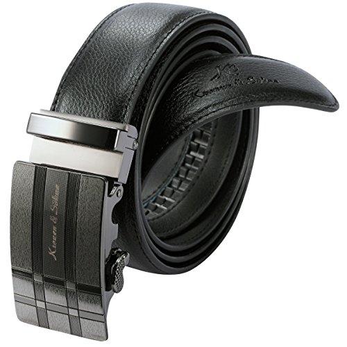 KS Men's Black Leather Automatic Stainless Steel Ratchet Buckle Belt KB053