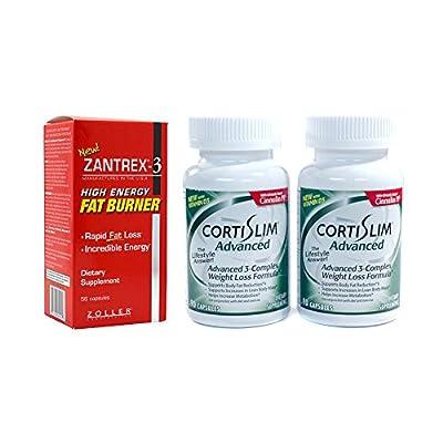 Basic Research Zantrex-3 High Energy Fat Burner 56 ea and Cortislim Advanced Two Bottles