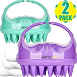 Shampoo Brush, 2 Pack Hair Scalp Massager Shampoo Brushes with Easy Handle for Curly Girls, Kids, Elders and Family (Natural Green, Noble Purple)