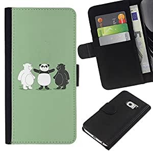 JackGot ( Divertente Black & White Bear Panda ) Samsung Galaxy S6 EDGE (NOT S6) la tarjeta de Crédito Slots PU Funda de cuero Monedero caso cubierta de piel