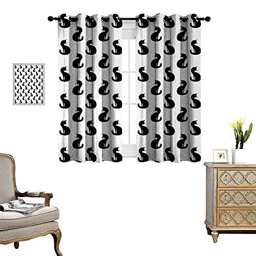 Anyangeight Cat Blackout Window Curtain Silhouette of a