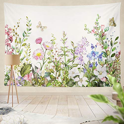 s Wild Flowers Leaves Botanical Spring Butterfly Watercolor Drawing Hanging Tapestries 50 x 60 inch Wall Hanging Decor for Bedroom Livingroom Dorm ()