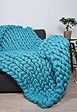 Chunky knit blanket, Merino wool blanket, 30x50 inches (80x130CM), Giant throw, Chunky, Merino wool blanket, Plaid