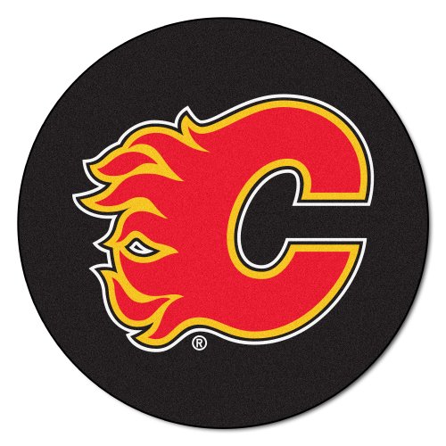 FANMATS NHL Calgary Flames Nylon Face Hockey Puck Rug (Calgary Flames Utility Mat)