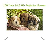 EZAPOR Outdoor Screen 120-inch 16:9 4K Ultra HD Ready Portable Foldable Movie Theater Projector Screens