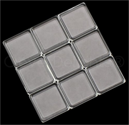 """20 CleverDelights Square Glass Tiles - 15mm (19/32"""") - Clear Tiles - For Crafts Earrings Custom (15 Mm Dome Ring)"""