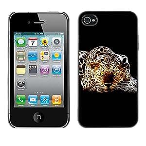 Smartphone Rígido Protección única Imagen Carcasa Funda Tapa Skin Case Para Apple Iphone 4 / 4S Cheetah Leopard Dots Art Photo Yellw Eyes / STRONG