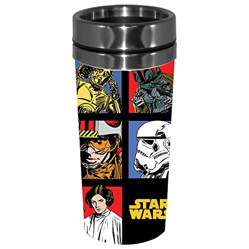 Silver Buffalo SW0587ST Disney Star Wars Episode 4 Grid Steel Travel Mug, 16 oz, Multicolor