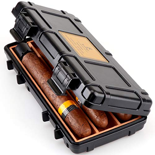 - XIFEI Cigar Humidor Cedar Wood Travel Portable Waterproof Cigar Case with Humidifier (3 Capacities)