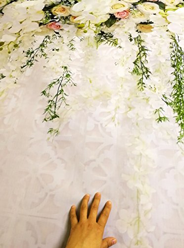 HUAYI 10x8ft White Flower Backdrop Curtain Floral 3d flower Wedding Party Background Photo Backdrop for wedding reception Baby shower Photo Booth Props Xt-6749 by HUAYI (Image #6)