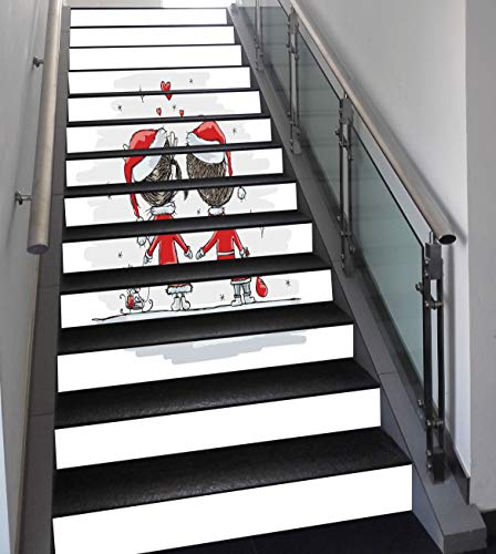 Stair Stickers Wall Stickers,13 PCS Self-adhesive,Christmas Decorations,Soul Mates Love With Santa Costume Family Romance Winter Night Picture,Red White,Stair Riser Decal for Living Room, Hall, Kids R