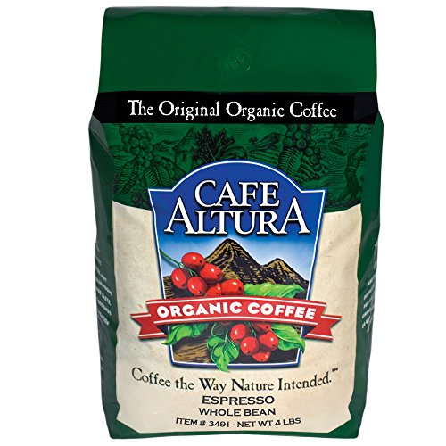 Cafe Altura Whole Bean Organic Coffee, Espresso Roast, 4 Pound