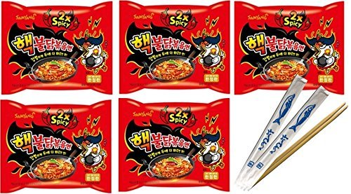 Samyang 2X Spicy Hot Chicken Flavor Ramen Spicy Noodles 5 pack with Fish Logo Chopsticks 2Pcs (Pack Of 1) (Flavor Soup Chicken Noodle)
