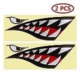 Freebily 2pcs Shark Teeth Mouth Reflective Decals Sticker Fishing Boat Canoe Car Truck Kayak Graphics Accessories
