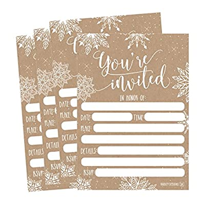 25 Snowflake Christmas Holiday Invitations, Rustic Winter New Years Bridal or Baby Shower Invite, Ugly Sweater Party, Birthday Invitation Wedding Rehearsal Dinner Invites, Anniversary, Housewarming