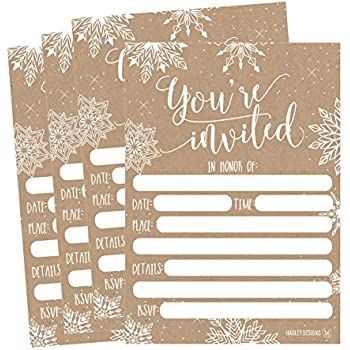 25 Snowflake Christmas Holiday Invitations Rustic Winter New Years Bridal Or Baby Shower Invite
