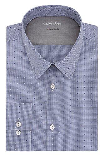 Mini Point Collar Dress Shirt (Calvin Klein Men's Stretch Xtreme Slim Fit Textured Mini Check Point Collar Dress Shirt, Cadet Blue, XL/17