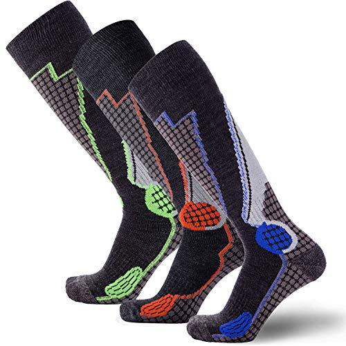 Pure Athlete High Performance Wool Ski Socks - Outdoor Wool Skiing Socks, Snowboard Socks