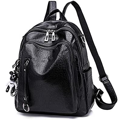 SYKT Backpack Purse for Women Fashion School PU Leather Purses and Hangbags Shoulder Bags Size: Medium