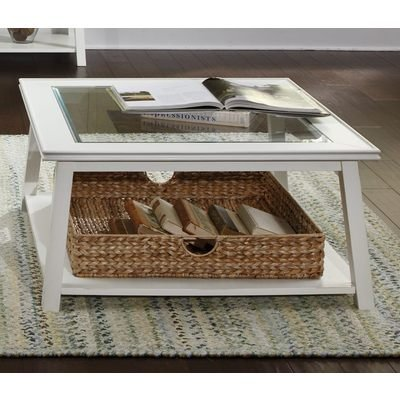 Summerhill Square Linen Coffee Table (Large Glass Coffee Table)