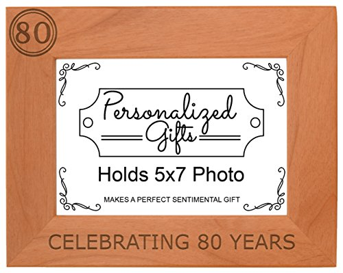 Cheap 80th Birthday Gift Celebrating 80 Years Natural Wood Engraved 5×7 Landscape Picture Frame Wood
