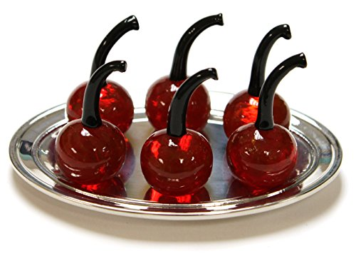 Dish Cherry - Set of 6 Miniature Cherry Glass Figurines with Display Dish (ER23182)