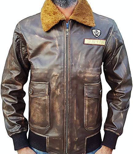 Mens Distressed Brown Real Leather Bomber Jacket - Fur Collar Fighter Pilot Jacket with Patches]()