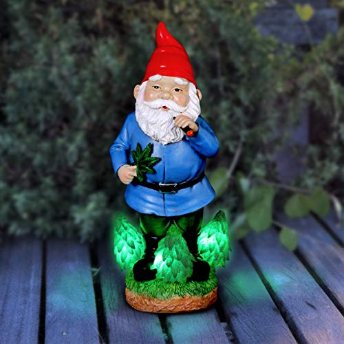 Exhart Marijuana-Smoking Gnome Resin Statue - Hand-Painted Outdoor Statue of Good Time Gnome Smoking Marijuana Weed w/LED Accent Lights - Timer, Battery Powered & Perfect for Home or Garden Art, 12