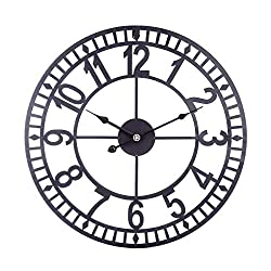 Goshfun 16 Inches Arabic Numerals Wall Clock, Wrought Iron Hollow Silent Decorative Clock, Large Retro No Ticking Hanging Clock for Living Room Bedroom Cafe Bar, 40cm (Black)