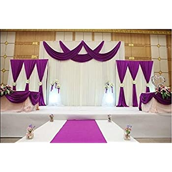 Amazon lb wedding stage decorations backdrop party drapes with 20x10ft wedding and celebration stage decorations backdrop party drapes with swag silk fabric curtain violet junglespirit Image collections